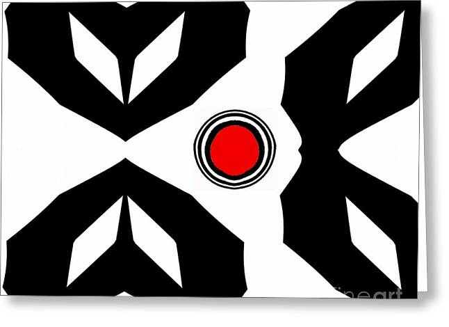 Minimalism Art Black White Red No.229. Greeting Card by Drinka Mercep