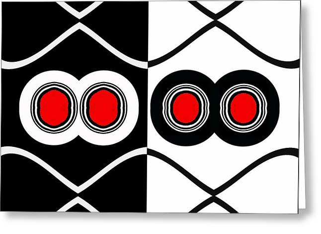 Minimalism Geometric Art Black White Red Abstract Print No.83. Greeting Card by Drinka Mercep