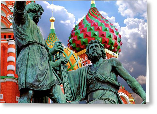 Minin and Pozharsky Monument in Moscow Greeting Card by Oleksiy Maksymenko
