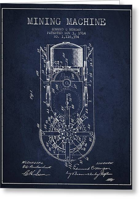 Mining Machine Patent From 1914- Navy Blue Greeting Card by Aged Pixel