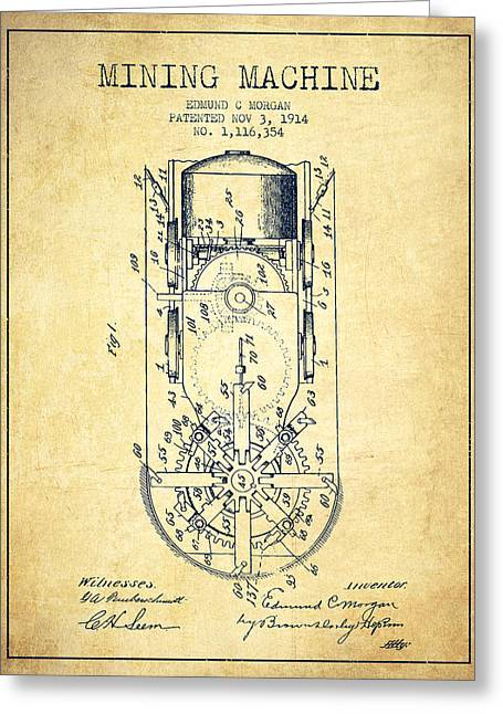 Mining Machine Patent From 1914- Vintage Greeting Card by Aged Pixel