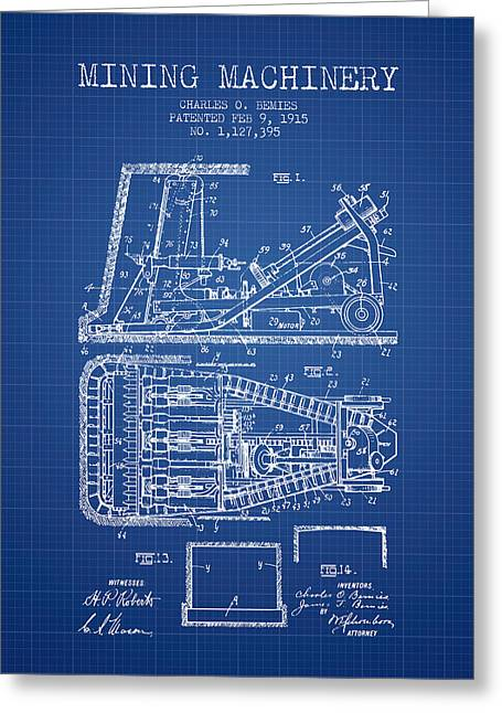 Mining Machinery Patent From 1915- Blueprint Greeting Card by Aged Pixel
