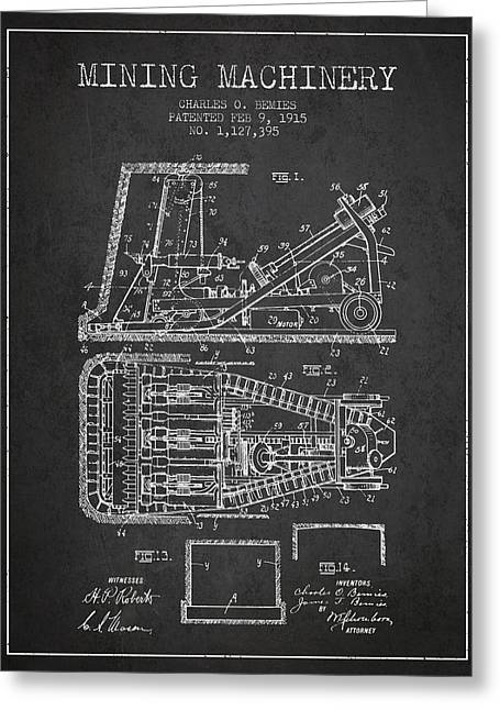 Mining Machinery Patent From 1915- Charcoal Greeting Card by Aged Pixel