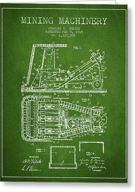 Mining Machinery Patent From 1915- Green Greeting Card by Aged Pixel