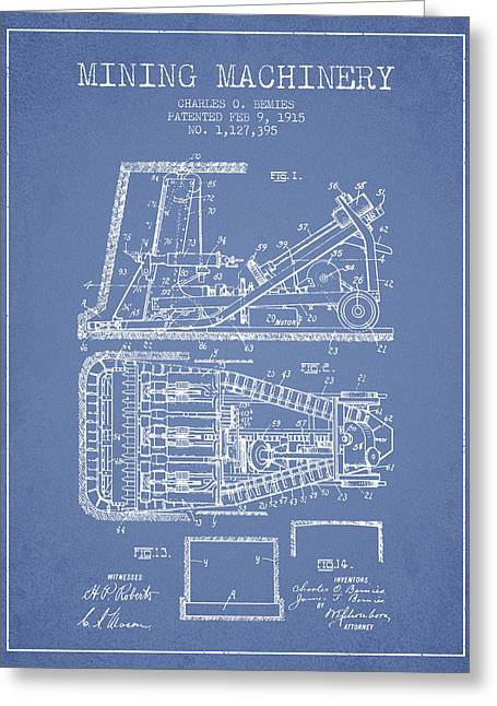 Mining Machinery Patent From 1915- Light Blue Greeting Card by Aged Pixel