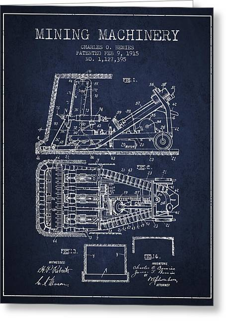Mining Machinery Patent From 1915- Navy Blue Greeting Card by Aged Pixel