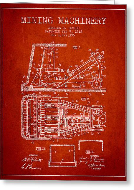 Mining Machinery Patent From 1915- Red Greeting Card by Aged Pixel