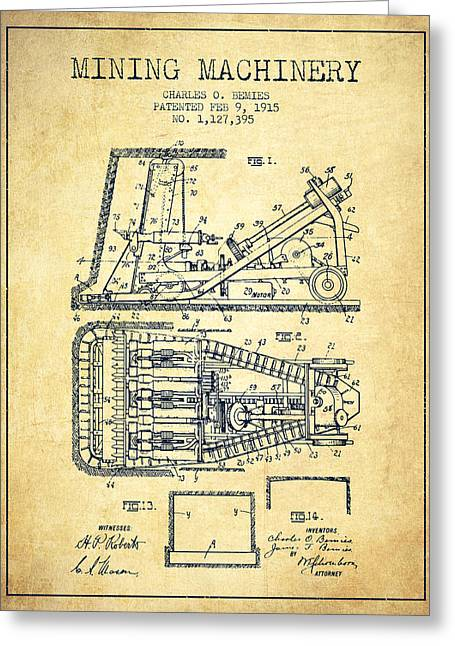 Mining Machinery Patent From 1915- Vintage Greeting Card