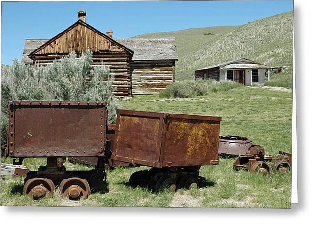 Mining Rail Cars Bannack Montana Greeting Card