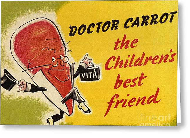 Ministry Of Food 1940s Uk Characters Greeting Card by The Advertising Archives
