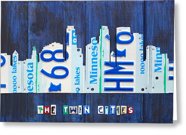 Minneapolis Minnesota City Skyline License Plate Art The Twin Cities Greeting Card by Design Turnpike