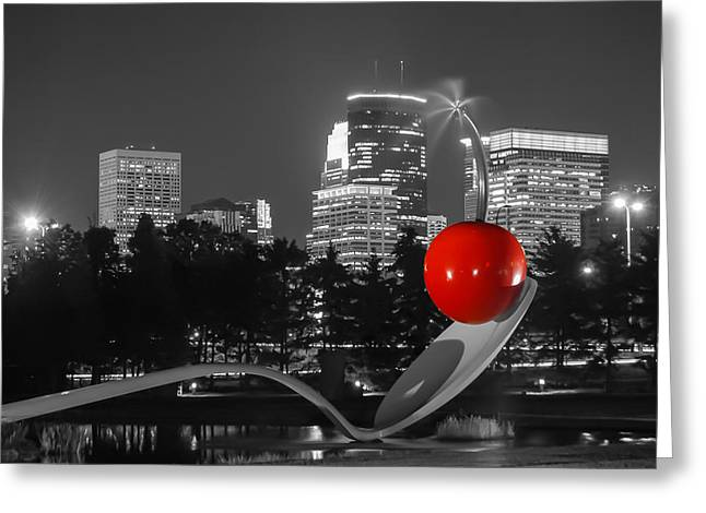 Minneapolis Skyline And Cherry Greeting Card