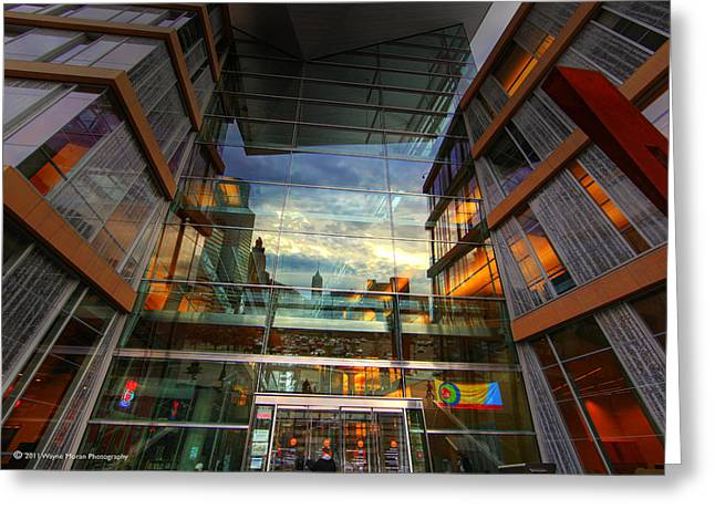 Minneapolis Skyline Images Central Library Greeting Card by Wayne Moran