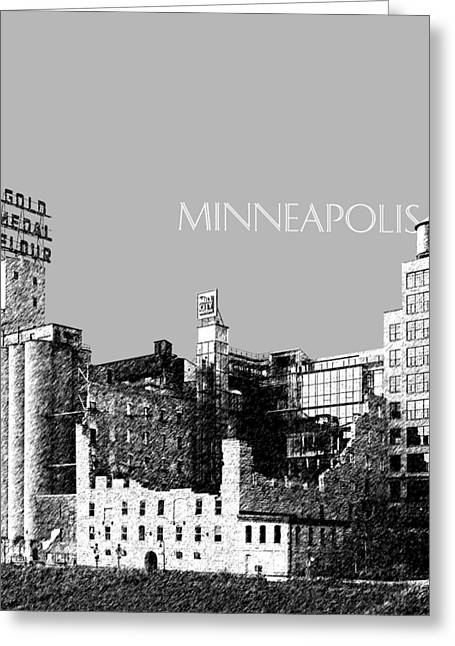 Minneapolis Skyline Mill City Museum - Silver Greeting Card