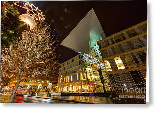 Minneapolis Skyline Photography Central Library Greeting Card by Wayne Moran