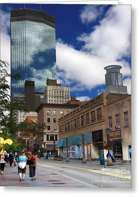 Minneapolis Skyline Photography Nicollet Mall Greeting Card by Wayne Moran