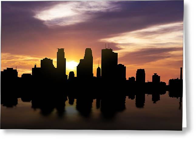Minneapolis Sunset Skyline  Greeting Card by Aged Pixel