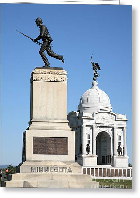 Minnesota And Pennsylvania Monuments At Gettysburg Greeting Card