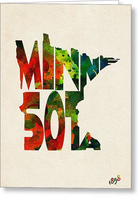 Minnesota Typographic Watercolor Map Greeting Card
