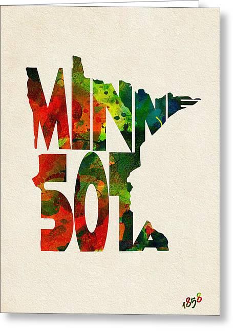 Minnesota Typographic Watercolor Map Greeting Card by Ayse Deniz