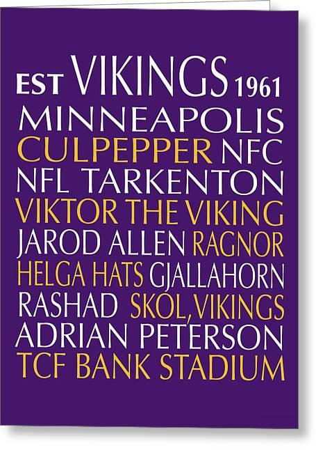 Minnesota Vikings Greeting Card by Jaime Friedman