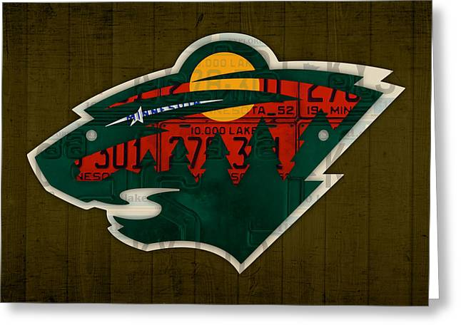 Minnesota Wild Retro Hockey Team Logo Recycled Land Of 10000 Lakes License Plate Art Greeting Card by Design Turnpike