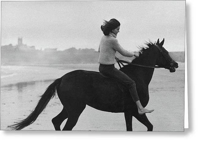 Minnie Cushing Riding A Horse Greeting Card by Toni Frissell