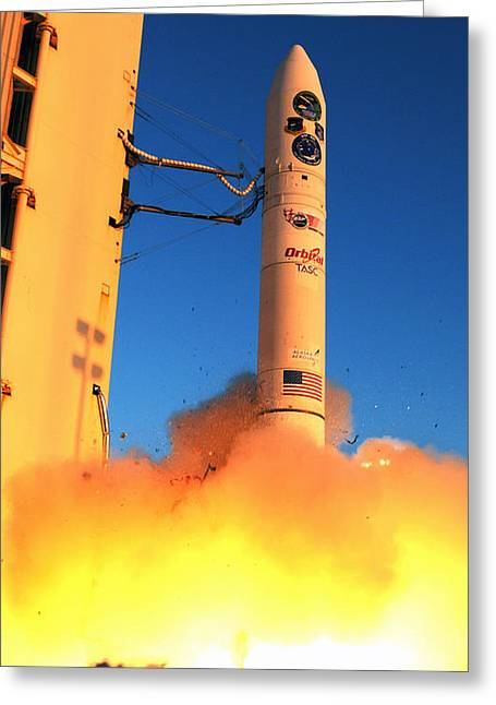 Minotaur Iv Rocket Launches Falconsat-5 Greeting Card by Science Source
