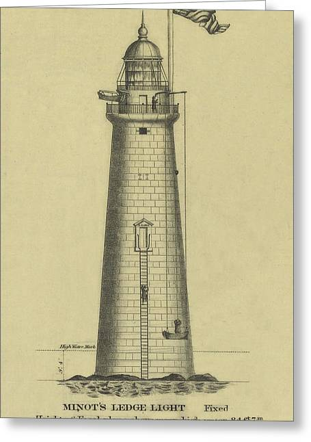 Minot's Ledge Lighthouse Greeting Card by Jerry McElroy - Public Domain Image