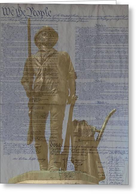 Minuteman Constitution Greeting Card by John Feiser
