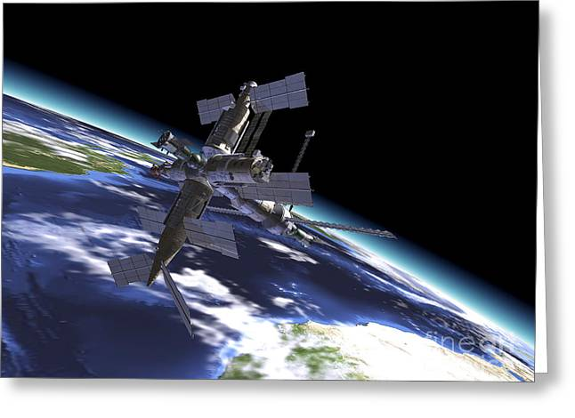 Mir Russian Space Station In Orbit Greeting Card
