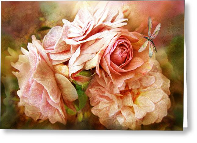 Miracle Of A Rose - Peach Greeting Card by Carol Cavalaris