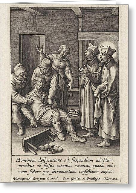 Miraculous Healing By Ignatius Loyola Of A Man Who Hanged Greeting Card by Hieronymus Wierix