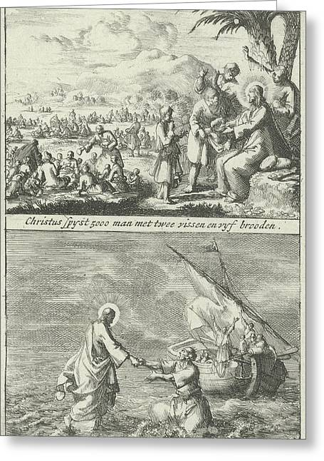 Miraculous Multiplication Of Loaves And Fishes By Christ Greeting Card by Jan Luyken And Jan Claesz Ten Hoorn