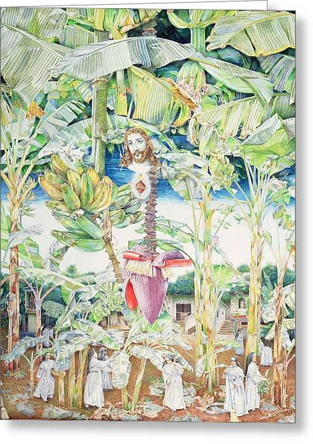 Miraculous Vision Of Christ In The Banana Grove, 1989 Oil On Canvas Greeting Card
