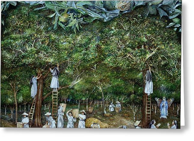 Miraculous Vision Of The Virgin In The Orange Orchard, 1996 Oil On Canvas Greeting Card by James Reeve