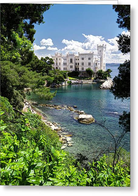Miramare Castle Beach Greeting Card