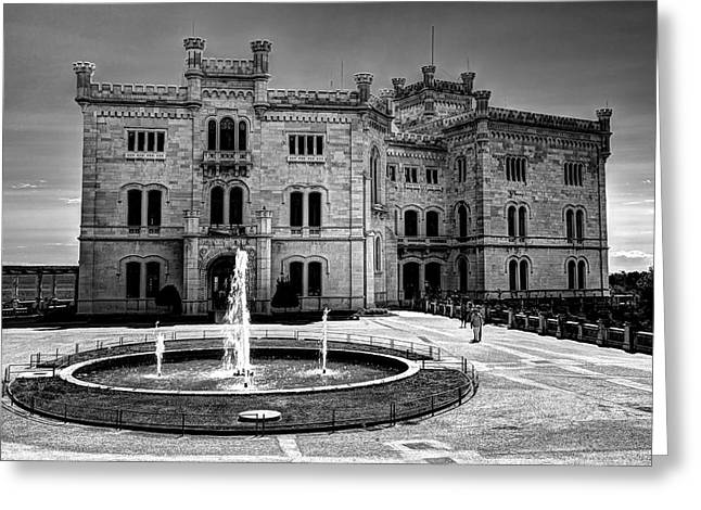 Miramare Castle Bw Greeting Card
