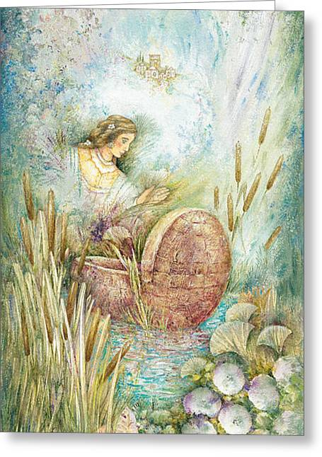 Miriam In The Bulrushes Greeting Card by Michoel Muchnik