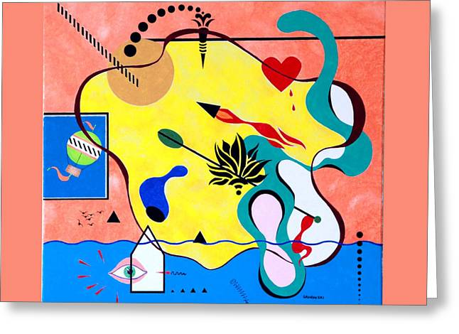 Greeting Card featuring the painting Miro Miro On The Wall by Thomas Gronowski