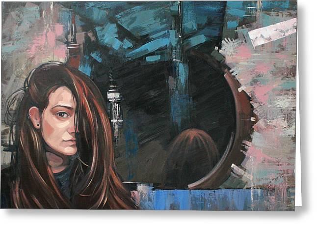 Greeting Card featuring the painting Mirror by Anastasija Kraineva