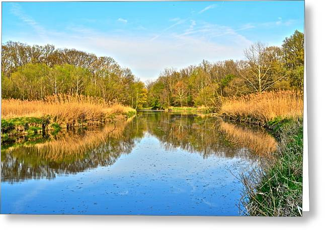Mirror Canal Greeting Card by Frozen in Time Fine Art Photography