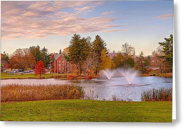Mirror Lake Uconn Sunset Greeting Card by Steve Pfaffle