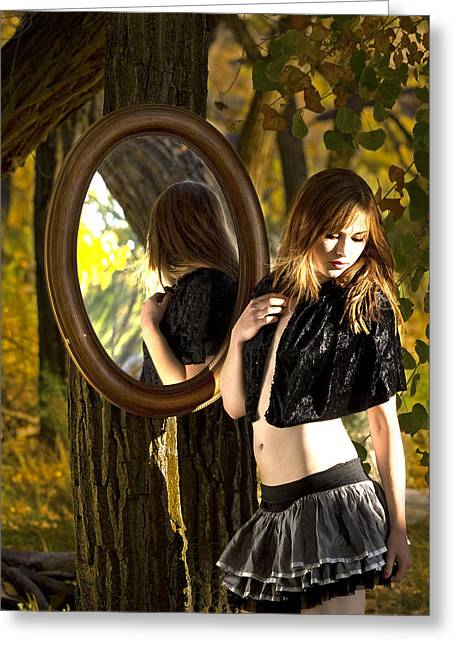 Mirror Mirror On The Tree Greeting Card by DJ Haimerl