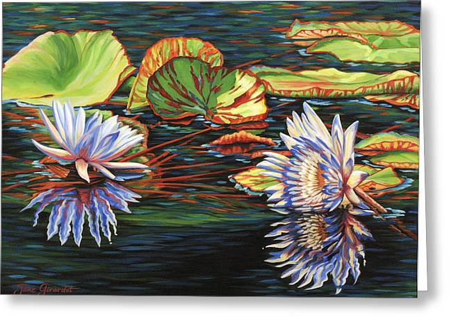 Greeting Card featuring the painting Mirrored Lilies by Jane Girardot