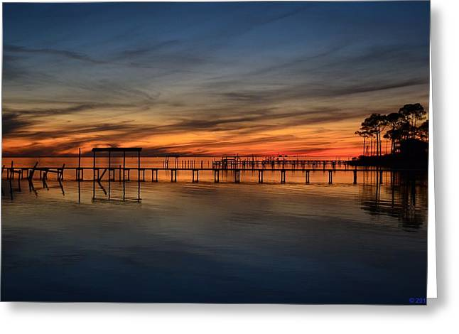 Greeting Card featuring the photograph Mirrored Sunset Colors On Santa Rosa Sound by Jeff at JSJ Photography