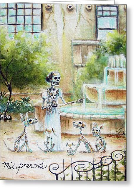 Mis Perros Greeting Card by Heather Calderon