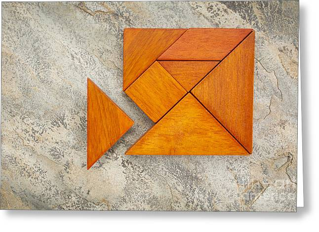 Misfit Concept With Tangram Greeting Card