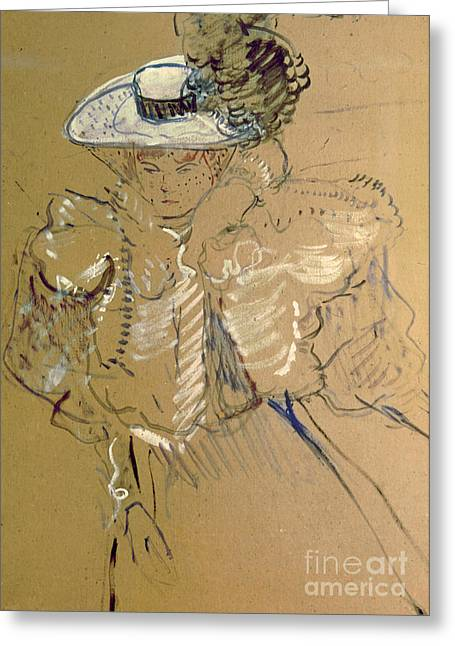 Misia Natanson Greeting Card by Henri de Toulouse-lautrec