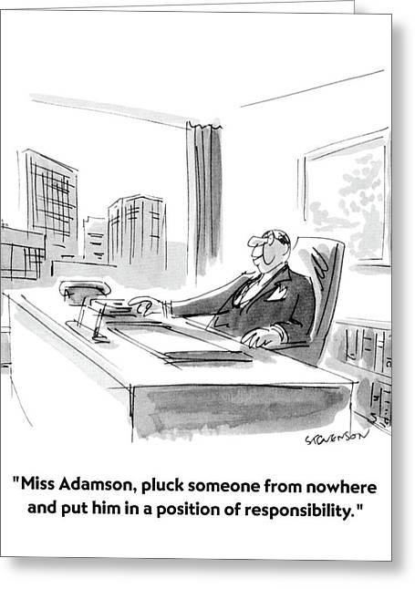 Miss Adamson Greeting Card by James Stevenson